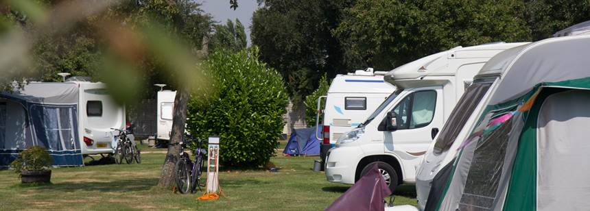 Motorhomes and tents pitched on Chichester Campsite