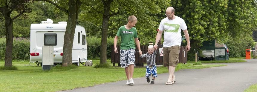 Families Relaxing and Enjoying Their Time at Clitheroe Camp Site, Lancashire