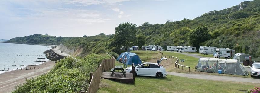 A Pitched Tent With Stunning Views Over the Kent Coast Line Folkestone Camp Site
