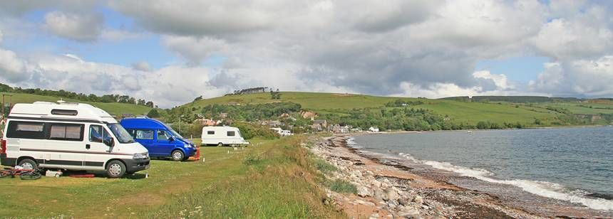 Grass Pitches Directly Overlooking the Moray Firth at the Rosemarkie Camp Site, the Highlands