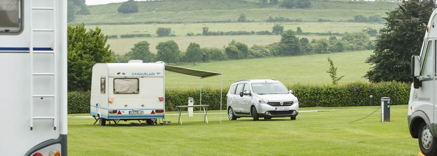 Caravans and motorhomes pitched up on Salisbury Campsite