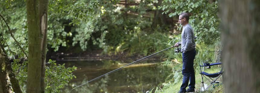 Man fishing on Umberleigh Campsite