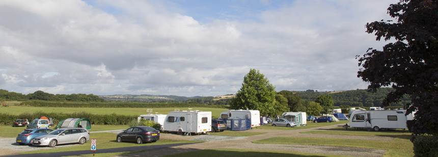 Caravans pitched on Umberleigh Campsite