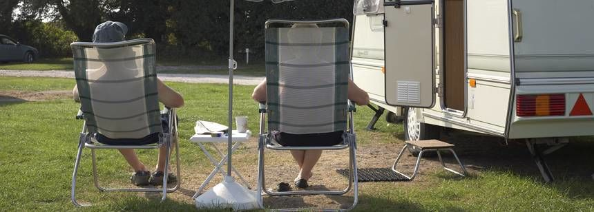 Relaxing in the Sun Outside the Caravan at the Weston Super Mare Camp Site, Somerset