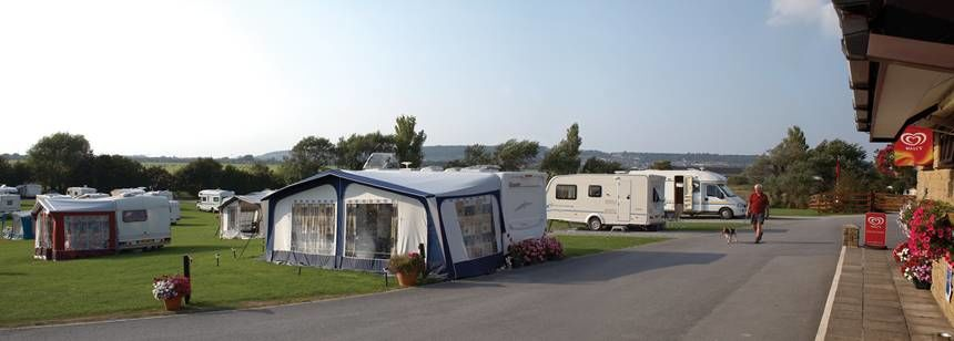Views of the Onsite Shop and Some of the Grass Pitches at the Weston Super Mare Camp Site, Somerset