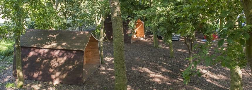 Camping Pods in a Shaded Coppice at Gullivers Milton Keynes Camp Site, Bucks