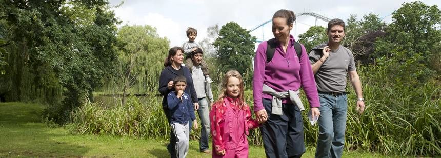A Family Enjoying Some Quiet Time in the Grounds of Drayton Manor Camp Site, Staffordshire