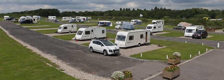 Hard Standing Pitches For Motorhomes and Caravans at Drayton Manor Camp Site, Staffordshire