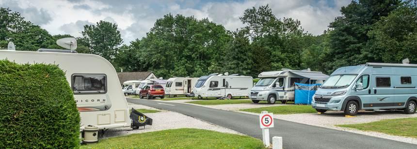 Motorhomes pitched up on Braithwaite Fold campsite