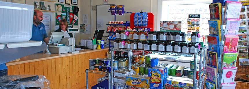 The Well Stocked on  Site Shop at Cheddar, Mendip Heights Camp Site, Somerset