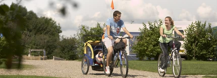 Families Getting Back to Nature and Cycling Through the Teversal Camp Site, Nottinghamshire