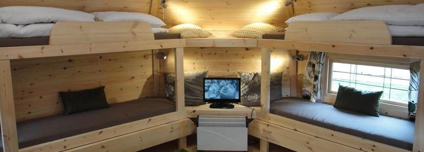 Inside log cabin at Teversal campsite
