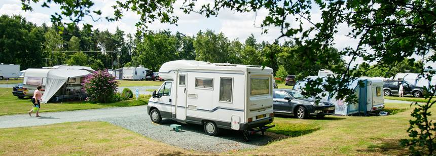Motorhome pitched up on Oswestry Campsite in Shropshire