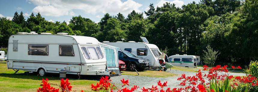 Caravans parked up on Oswestry Campsite in Shropshire