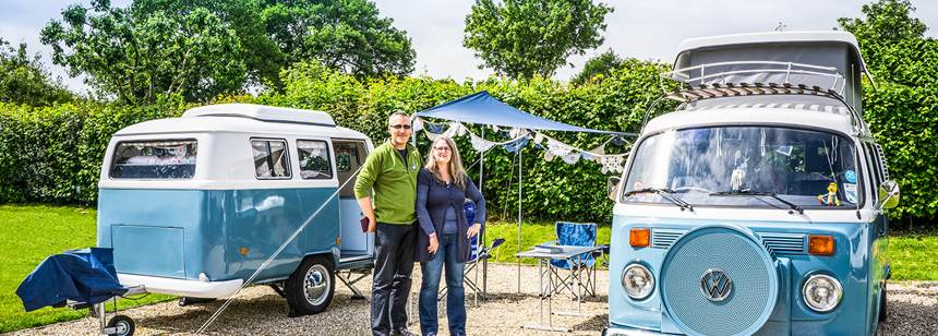 Couple enjoying Charmouth Club Site