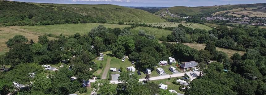 Aerial photo of Corfe Castle Campsite