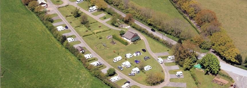 Aerial view of Teign Valley, Barley Meadow campsite.