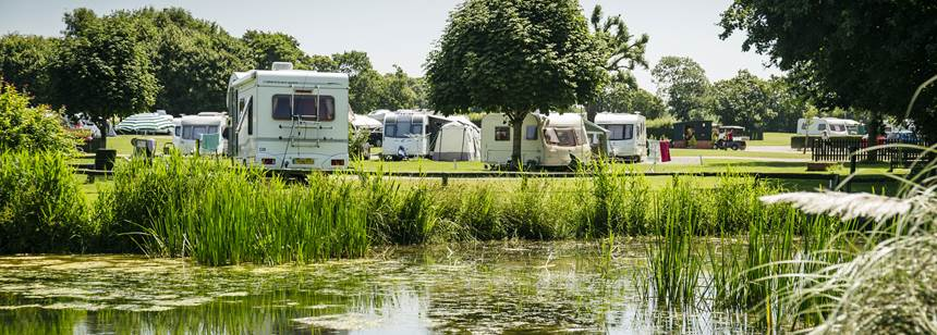 Caravans and motorhomes pitched up on Hereford Club Site