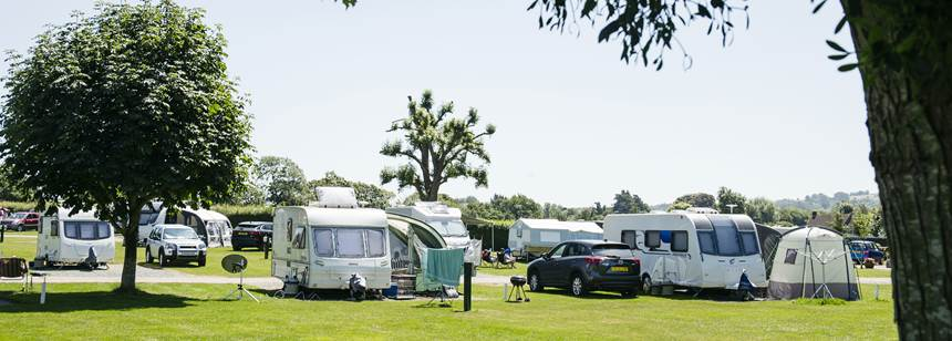 Caravans pitched on Hereford Campsite