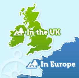 campsites in the UK and europe map