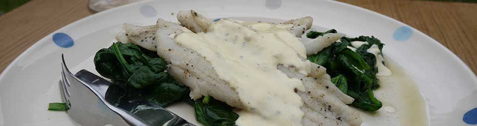 Torbay Sole in a lemon and wine sauce with wilted spinach